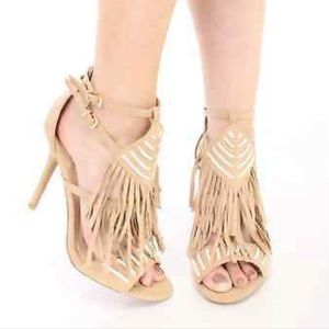 Open Toe Nude Strappy Boho Fringe Stiletto Heels